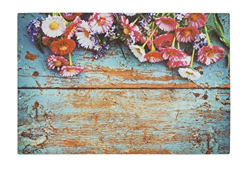 Bavaria Home Style Collection - Schmutzfangmatte - Fußmatte - Fussmatte - Fußabstreifer - Matte - Holz - Holzbretter - blau - Wood - Blumen - bunt - Größe ca. 40 x 60 cm