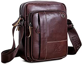 7f9a1ae967 BAIGIO Borsello Uomo Pelle Marrone Borsa a Tracolla Vintage Borsa a Spalla  Piccola Crossbody Bag Casual