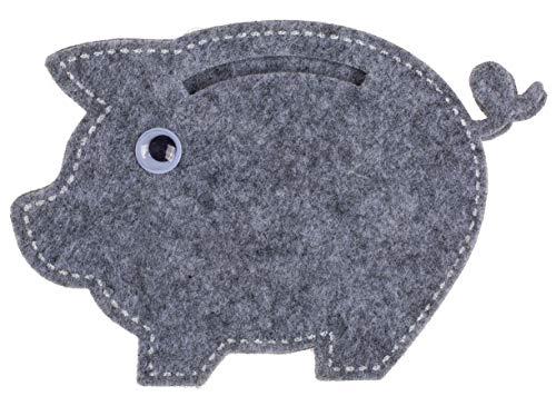 MIK Funshopping Geldgeschenkverpackung aus Filz, witzige Geschenkidee zum Geburtstag, zur Hochzeit und zu Weihnachten (Schwein grau)