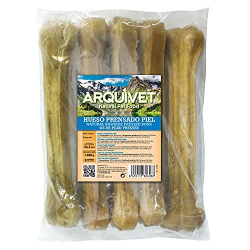 Arquivet Hueso prensado piel de vacuno - Snacks para perros - Chuches para perros - Golosinas para perros - Treats para perro deliciosos - 26,5 cm - Bolsa 5 uds.