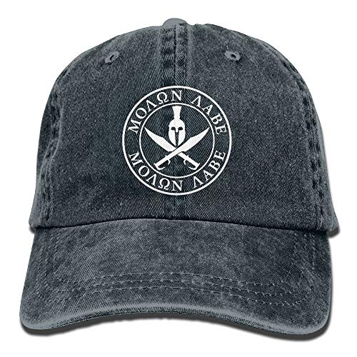Hoswee Hombres Mujer Gorra Beisbol,Snapback Sombreros Spartan Warrior Molon Labe Plain Adjustable Cowboy Cap Denim Hat for Women and Men