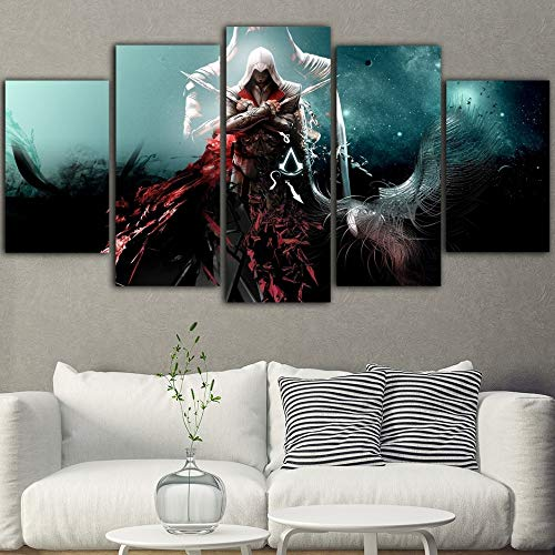 5Pieces Wall Painting Game Poster und Drucke Poster Assassins Creed Painting Movie Poster(NO Frame size 1)