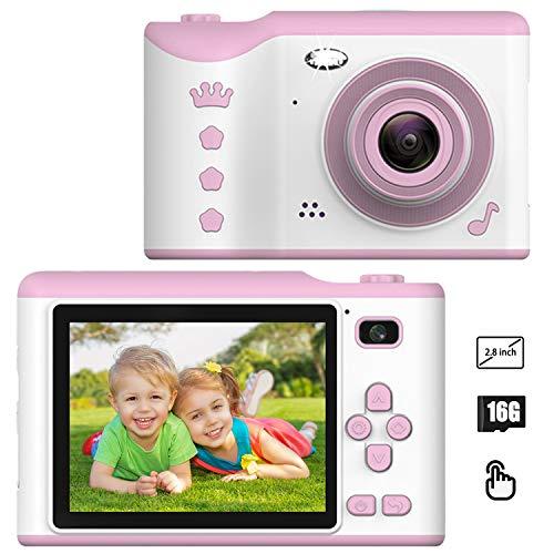 CáMara Digital para NiñOs, 2.8 Pulgadas Pantalla TáCtil, 1080p HD CáMara De Video para NiñOs con Tarjeta De 16gb TF, Regalos Ideales para NiñOs NiñAs De 3-10 AñOs, Rosa, Cumpleaños