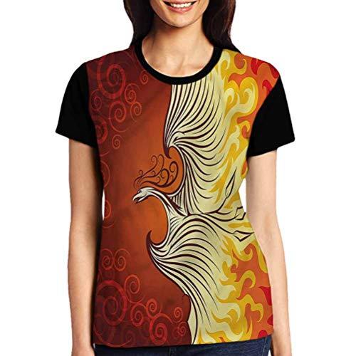 Orange Tops Casual Female Phoenix Bird in Flame Tees Short Sleeve Tshirts Girls Gift Tops