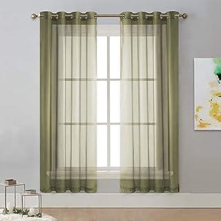 Ctobb transparante tule witte decoratie voor thuis van stevig voile raamgordijn voor woonkamer, slaapkamer, saliegroen, L ...