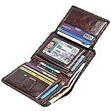Mens Wallet RFID Blocking Wallet Smooth Genuine Leather Bifold Flip Wallet with 9