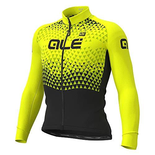 Alé Cycling Solid Summit 2019 - Maglia da ciclismo a maniche lunghe, da uomo, colore: Nero/Giallo fluo, Uomo, Nero-giallo fluo, XL
