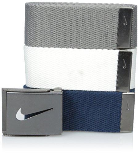 Nike Men#039s 3 Pack Golf Web Belt White/Gray/Navy One Size
