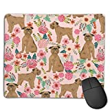 Brussels Griffon Dog Floral Mouse Pad for Laptop Gaming Office and Home Soft Non Slip Rubber Base Mouse Pad with Stitched Edges
