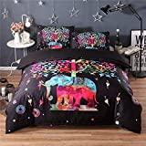 XWLIU Duvet Cover Sets 3D Animal Print Bedding Pillow Cases Single Double King Size,Redelephant-228x228cm