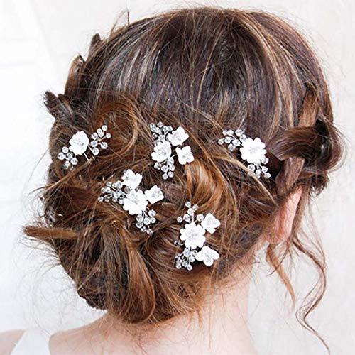 Edary Braut Hochzeit Haarnadeln Blume Braut Haar Stücke Silber Hochzeit Haarschmuck Perle Braut Haarspangen für Frauen und Mädchen 5 Stück