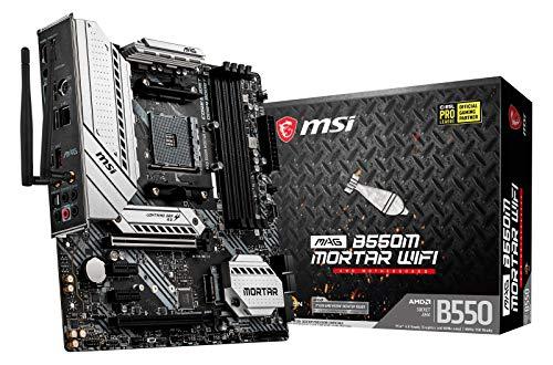 MSI MAG B550M Mortar WiFi AMD AM4 DDR4 M.2 USB 3.2 Gen 2 WLAN 6 HDMI M-ATX Gaming Motherboard