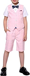 YUFAN Boys Summer Suit Set 3 Pieces Shirt Vest and Shorts Set Blue Gray and Pink
