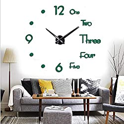FASHION in THE CITY Large 3D Frameless Wall Clock Stickers DIY Wall Decoration for Living Room Bedroom Office (Green)