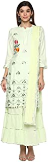 Haute Curry by Shoppers Stop Womens Mandarin Collar Embroidered Sharara Suit