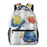 Laptop mochila casual monedero bolsas de libros de viaje mochilas pequeñas para las mujeres de los hombres, divertido de los pescados Tropic acentos acuario All Seasons unisex de gran capacidad durab