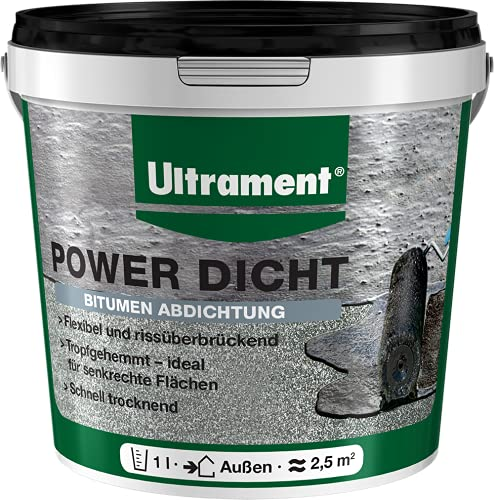 Ultrament 82451900116608 1L Power Dicht Super Flexible Universalabdichtung | Dachabdichtung & Heimwerker | 1 Liter, Schwarz