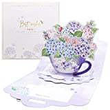 Tarjeta del Día de la Madre 3D Emergente Tarjeta de Felicitación en 3D Pop-Up con Ramo de Flores Tarjeta de Agradecimiento de Papel Tarjeta Felicitación para Cumpleaños y Día de la Madre (Púrpura)
