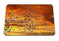 22cmx18cm マウスパッド (鳥シルエット空フライト夕焼け雲) パターンカスタムの マウスパッド