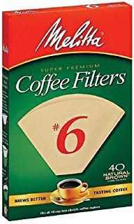 Melitta Natural Brown, Cone Filters #6 40 ea (Pack of 3) by Melitta