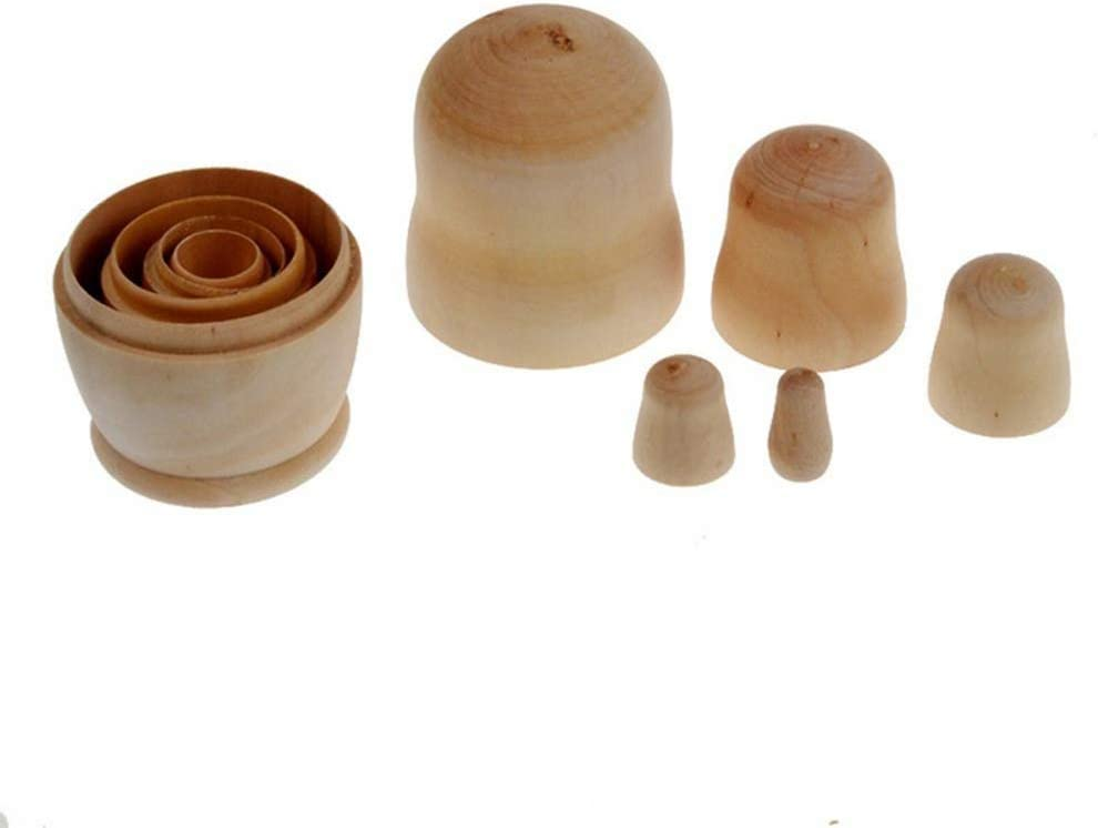 Sytaun Traditional Russian Nesting Dolls,Educational Learning Toys,5Pcs//Set DIY Handmade Wooden Russian Matryoshka Blank Unpainted Nesting Dolls