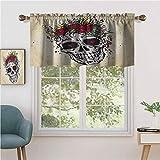 Hiiiman - Juego de 2 cenefas para ventanas de cocina, diseño de calavera con corona de rosas