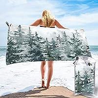 バスタオル 薄手 ボディタオル ビーチタオル 大判 松 森 水彩画 白 冬 雪 マイクロファイバー 速乾 ふわふわ 高速吸水 サイズ:70cm*140cm 収納袋付き ループ付き 家庭用 旅行 かわいい おしゃれ
