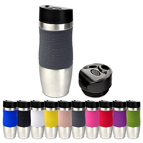 Schramm® Thermobecher in 10 Farben inkl. Ersatzdeckel Isolierbecher ca. 400ml Thermoisolierbecher Kaffeebecher Travel Mug Reisebecher BPA-frei Coffee to go Becher, Farbe:grau