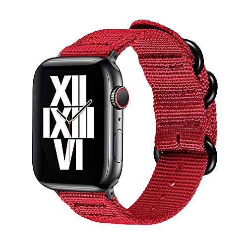 Correas De Reloj De Nylon Pulsera de Cuero del Deporte de la Banda del Reloj de la Banda del Reloj de la Banda de Nylon 42mm 44mm 38mm 40mm Correa Correa Reloj (Band Color : Red)