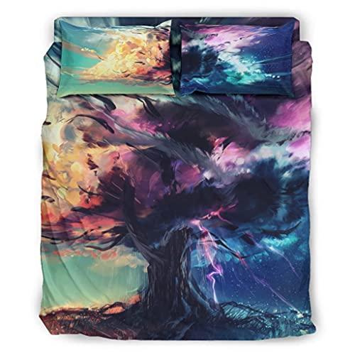 Wandlovers Set di 4 copripiumini con motivo astratto albero della vita, con stampa per tutto l'anno, biancheria da letto, lenzuolo piatto, federa per cuscino, misura confortevole, bianco, 228 x 228 cm