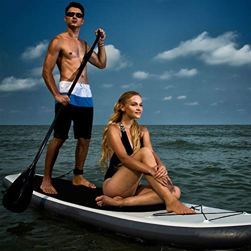Blue Water 11' Premium SUP | Inflatable Stand Up Paddle Board Set | 34 Inches Wide Extra Stable | Extra Large Non-Slip Deck | 6 Inches Thick | Youth & Adult (Black)
