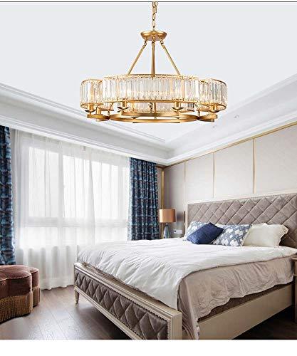XLTT Candelabro nórdico con personalidad simple europea, de hierro forjado, cristal para restaurante, lámpara de araña de cristal para sala de estar, iluminación E14 x 5 W (color: oro, tamaño: 60 cm)