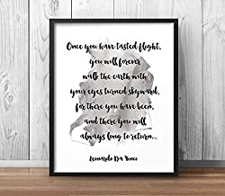 Rainbow Store Da Vinci Quote Once You Have Tasted Flight Leonardo Motivational Poster Inspirational Print Your Eyes Skyward Printable Decor