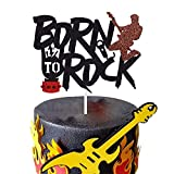 Born To Rock Cake Topper Rock and Roll Birthday Cake Topper Decoration for Vintage Rock Musical Theme Birthday Party Baby Shower Events Decoration Supplies