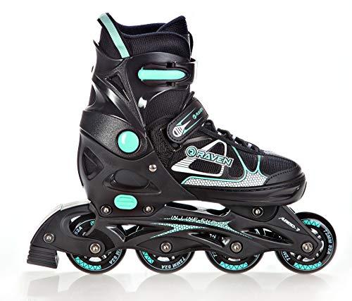 RAVEN Inline Skates Inliner Spirit verstellbar (Black/Mint, 37-40(23,5cm-26cm))