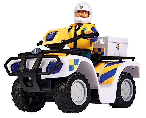 Simba 109251093 - Feuerwehrmann Sam Polizei Quad, mit Malcolm Figur, mit Zubehör, Staffel 12, ab 3 Jahren