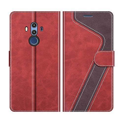 MOBESV Handyhülle für Huawei Mate 10 Pro Hülle Leder, Huawei Mate10 Pro Klapphülle Handytasche Hülle für Huawei Mate 10 Pro/Huawei Mate10 Pro Handy Hüllen, Modisch Rot