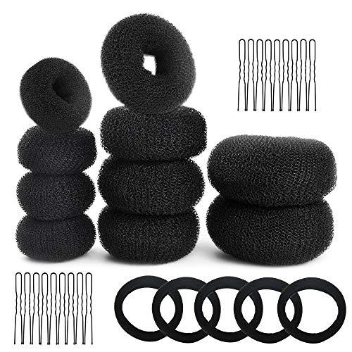 Golrisen Donut Hair Bun Maker Set Schwarzer Brötchenformer,Haar Styling Zubehör Dount Ring Style 10 Stück Chignon Bun Maker (2L/4M/4S) mit 5 Haargummibändern Some...