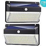 Lampe Solaire Extérieur 228 LED, Trswyop [2Pack-2000Lumiere-2200mah] Détecteur de Mouvement éclairage Solaire...