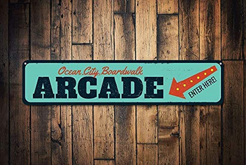 Boardwalk Arcade Sign Personalized Enter Here Arrow Sign Beach Boardwalk Sign Custom Beach House Decor Decorative Metal Signs for Women Wall Post Tin Sign Present