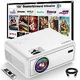 Projektor, GROVIEW Mini Beamer, 6000 Lux Video Beamer, Unterstützt 1080P, 240'' Display Tragbarer Beamer, mit 5.0 Bluetooth, Kompatibel mit Telefon, Fire Stick, HDMI, VGA, USB, TV-Box, Laptop, DVD