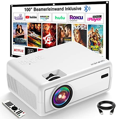 Projektor, GROVIEW Mini Beamer, 6000 Lux Video Beamer, Unterstützt 1080P, 240\'\' Display Tragbarer Beamer, mit 5.0 Bluetooth, Kompatibel mit Telefon, Fire Stick, HDMI, VGA, USB, TV-Box, Laptop, DVD