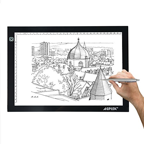 AGPtek Light Pad A4 mesa de luz trazador de luz LED Artcraft Tracing Pad Caja de luz ultra-delgado cable USB brillo regulable Tatoo Pad Aniamtion, el dibujo, la planificación, el estarcido