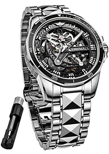 OUPINKE Skeleton Mechanical Men Watches Automatic Wrist Watch Luxury Sapphire Crystal Business Dress Watch Tungsten Steel Waterproof Luminous