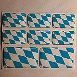 All3DStickers Aufkleber Bayern Deutschland Flagge 8 x Flaggen von Bayern Deutschland Rechteckig 3D Kfz-Aufkleber Gedomt Fahne