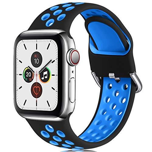CeMiKa Correa Compatible con Apple Watch Correa 38mm 40mm 42mm 44mm, Suave Silicona Deporte Correa con Compatible con Apple Watch SE/iWatch Series 6 5 4 3 2 1, 42mm/44mm-S/M, Negro/Azul