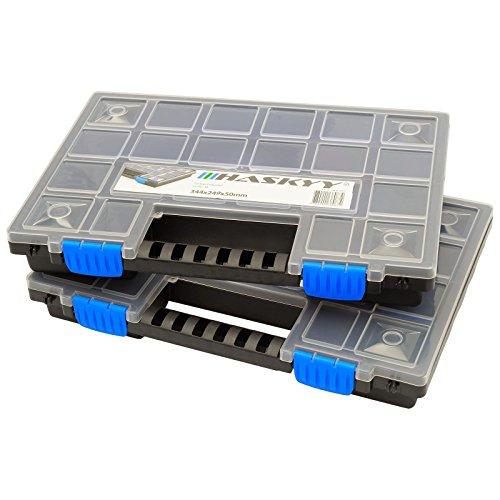 2x XL Caja organizadora con compartimentos de 345x249x50mm I Compartimiento de piezas pequeñas I Caja de tornillos I Caja de herramientas I Cajas surtidoras
