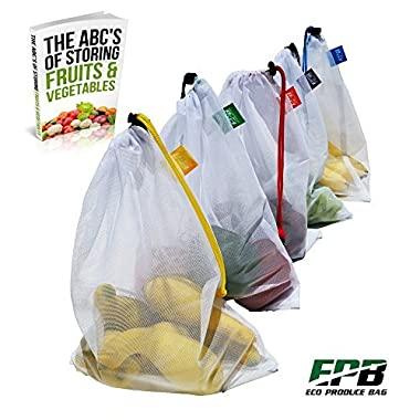 Eco Produce Bag OTHER Home Small Public Premium Mesh Set of 5 Draw String with Color Tags, Work Great As Reusable Toy Travel, Also Bonus Eb, 5