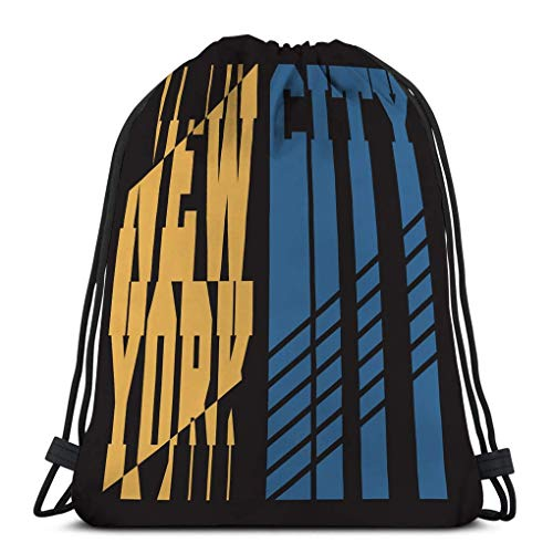 XCNGG Bolso clásico con cordón para hombre, mujer, mochila de gimnasio, bolsos de hombro, bolsa de almacenamiento deportiva, gráficos, tipografía de nyc, emblema deportivo