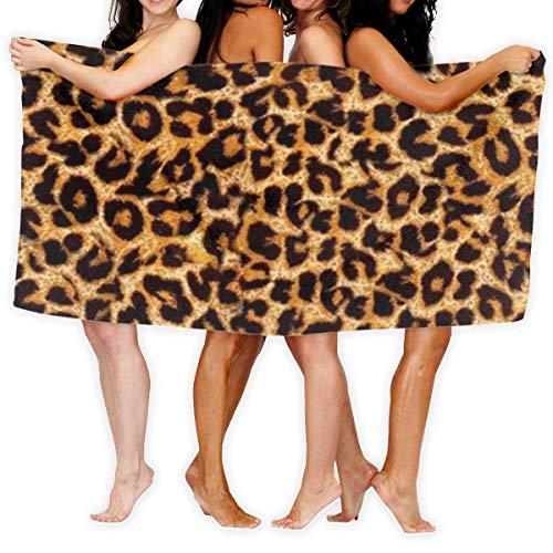 Olie Cam Toalla de Microfibra Personalizada con Estampado de Leopardo para Playa, SPA, baño, natación, Viajes, Vacaciones, baño Familiar, Parque de Atracciones, Microfibra, Toallas de Secado rápido